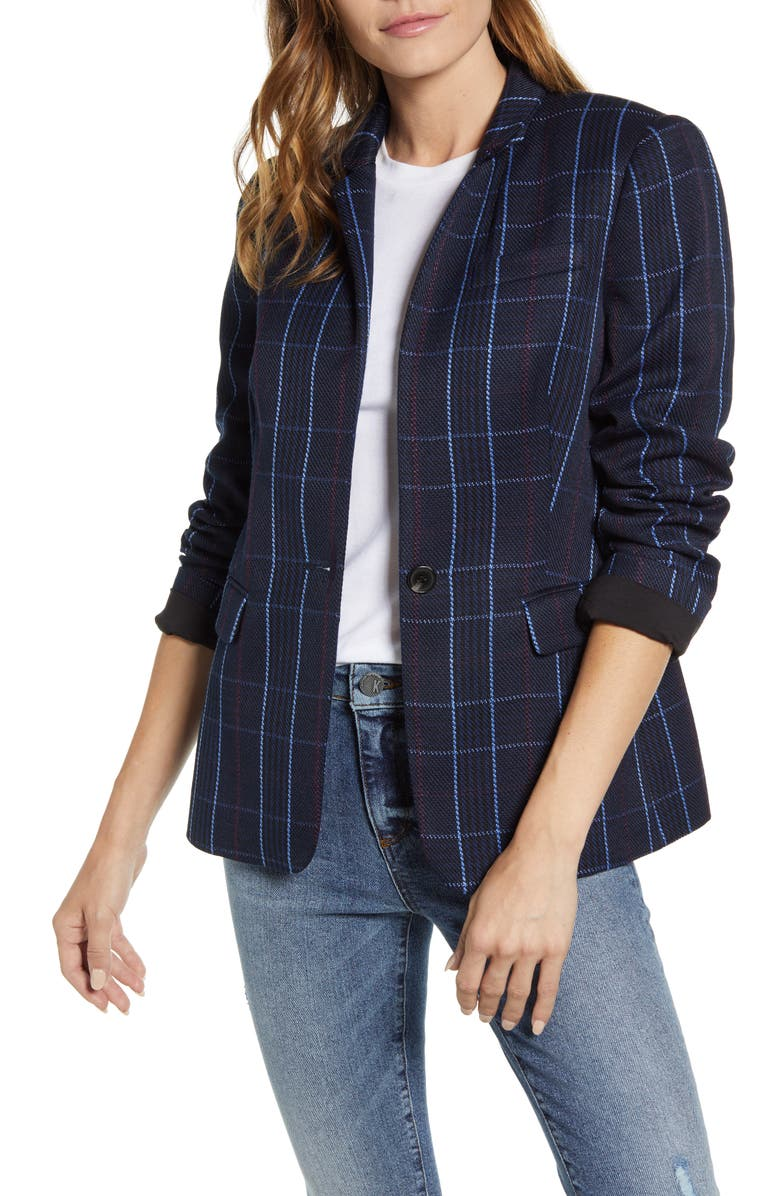 VINCE CAMUTO Plaid Blazer, Main, color, SERENE LAKE