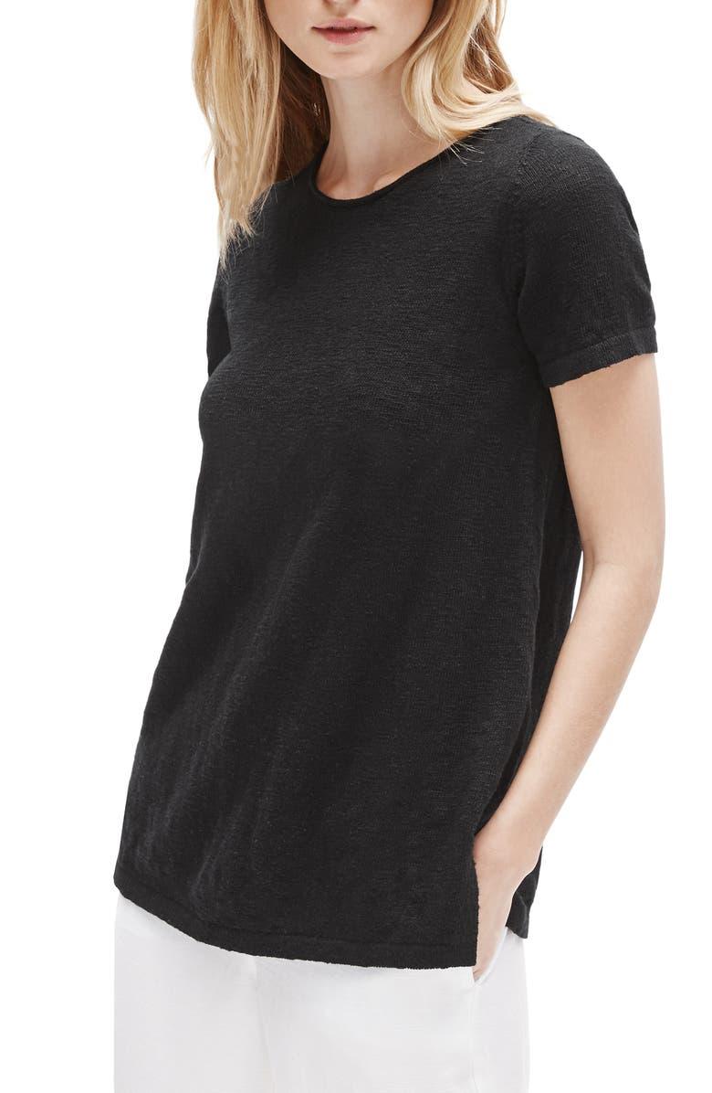 EILEEN FISHER Organic Cotton & Linen Sweater, Main, color, 001