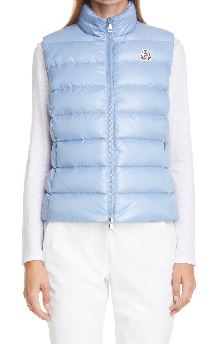 MONCLER Ghany Short Shiny Nylon Down Vest, Main, color, MEDIUM BLUE