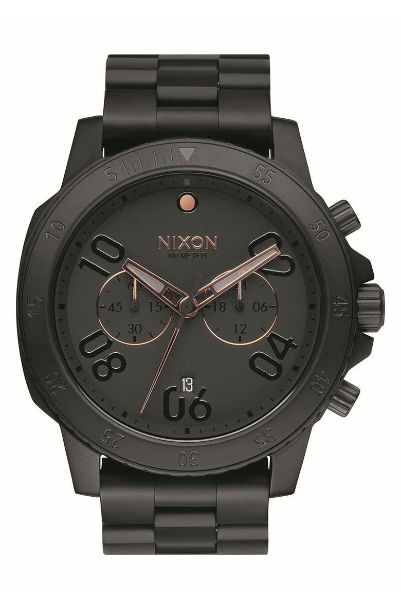 NIXON 'Ranger' Chronograph Bracelet Watch, 44mm, Main, color, 001