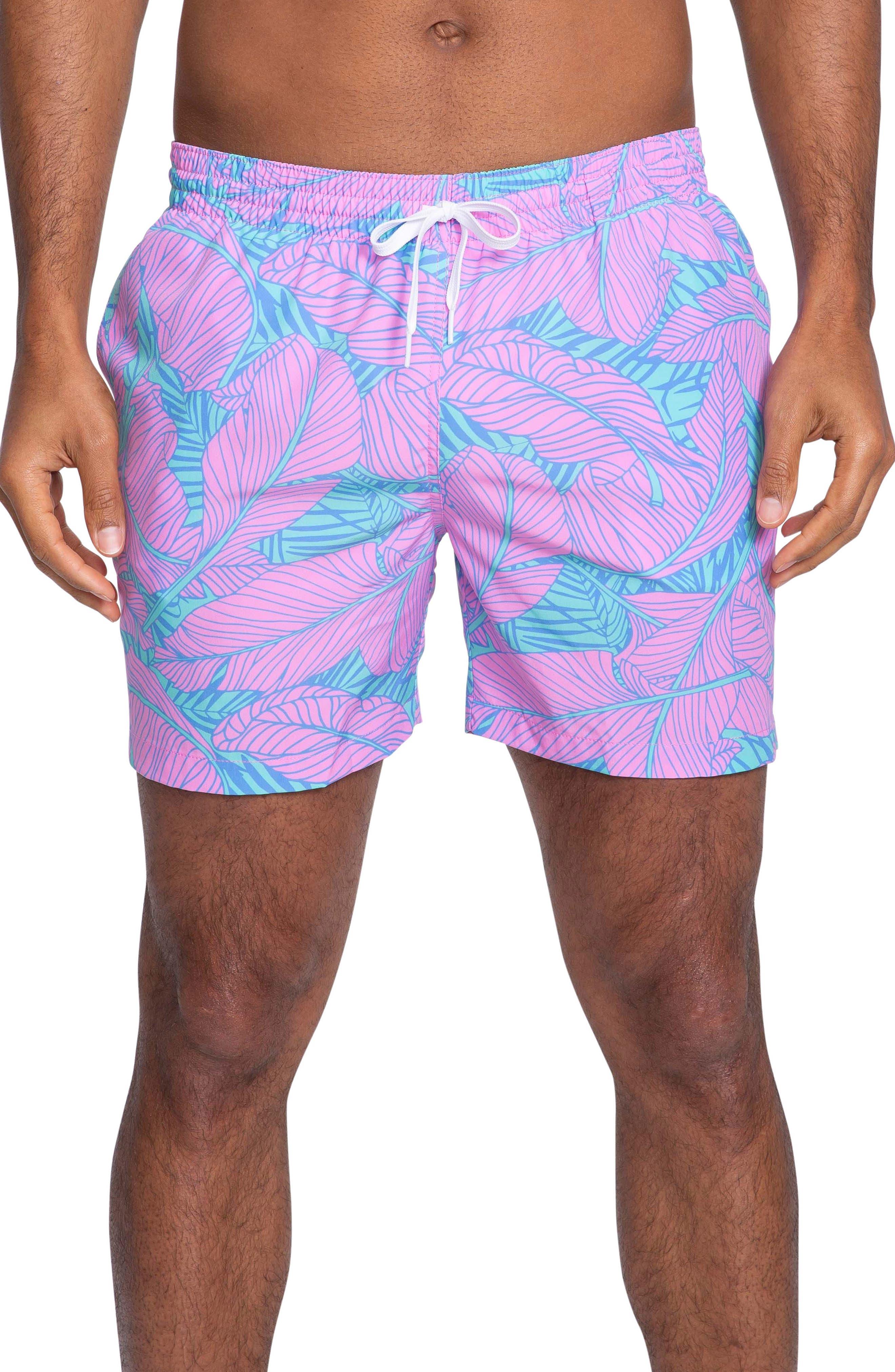 Chubbies The Tropical Escape Print Swim Trunks, Purple