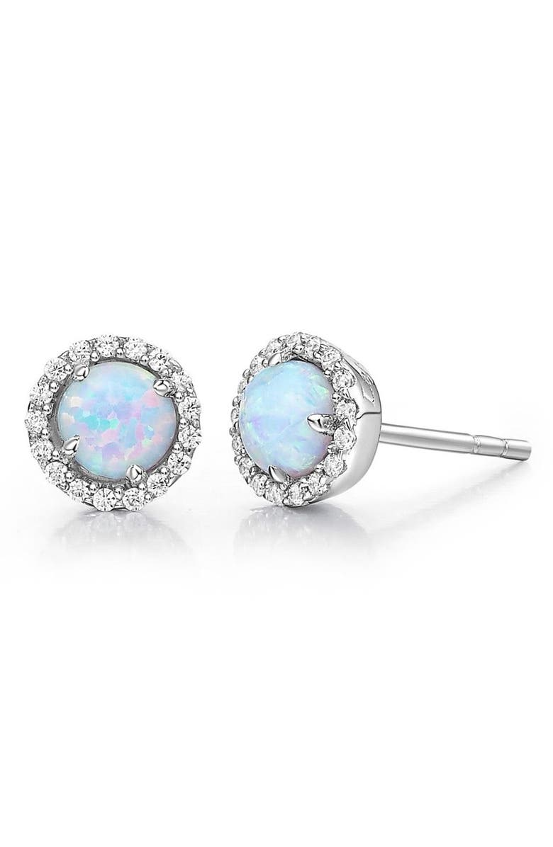 LAFONN Birthstone Stud Earrings, Main, color, OCTOBER OPAL / SILVER