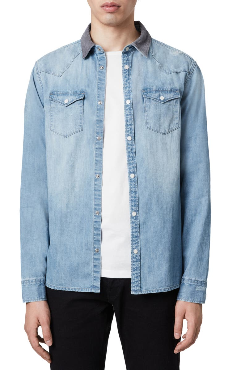 ALLSAINTS Dearne Regular Fit Denim Shirt, Main, color, 465