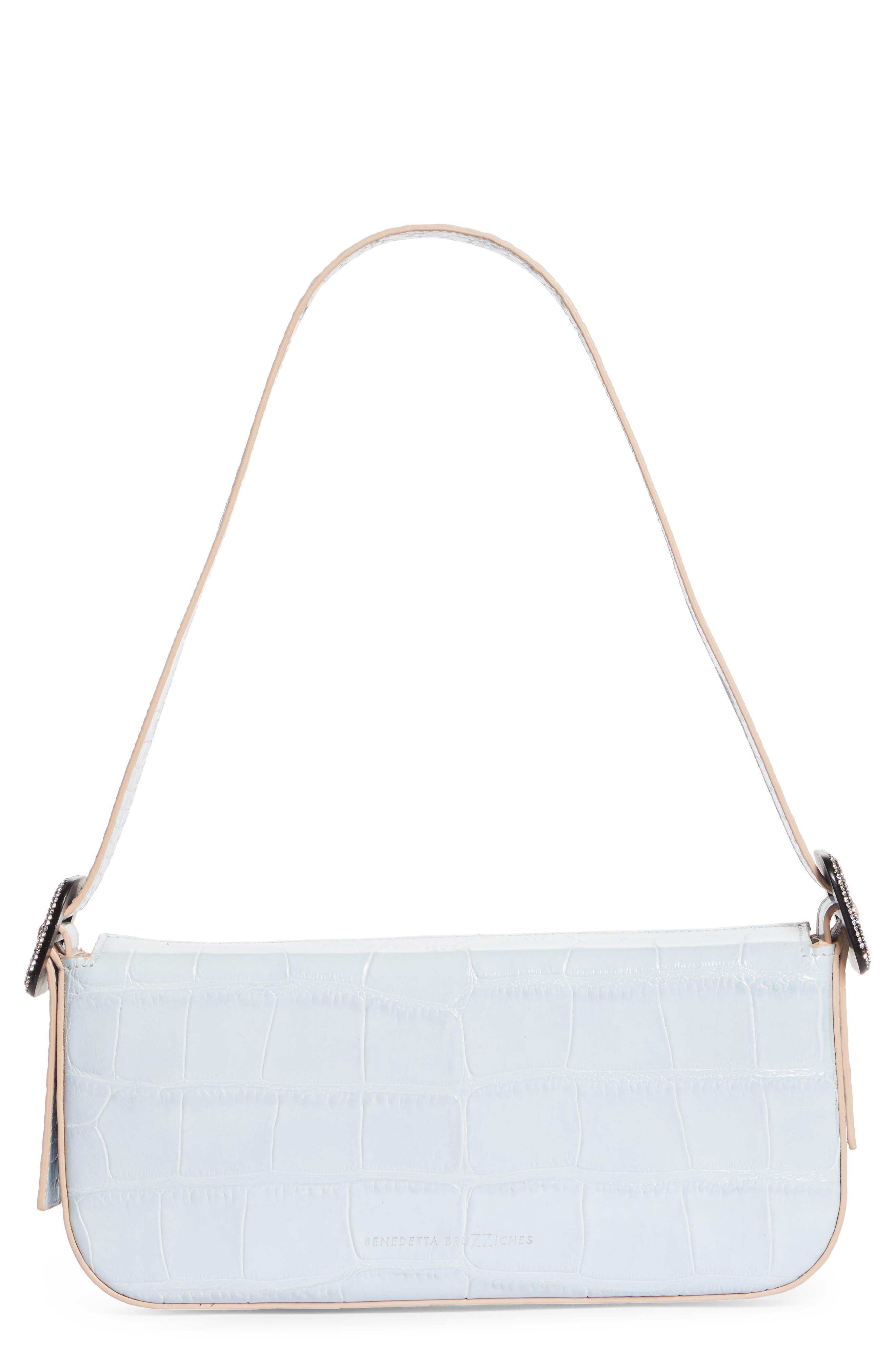Fujiko Croc Embossed Leather Shoulder Bag