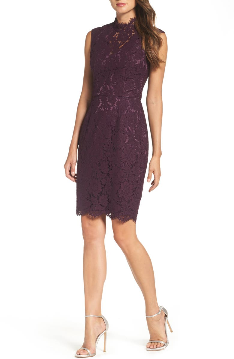 VINCE CAMUTO Open Back Lace Sheath Dress, Main, color, 506