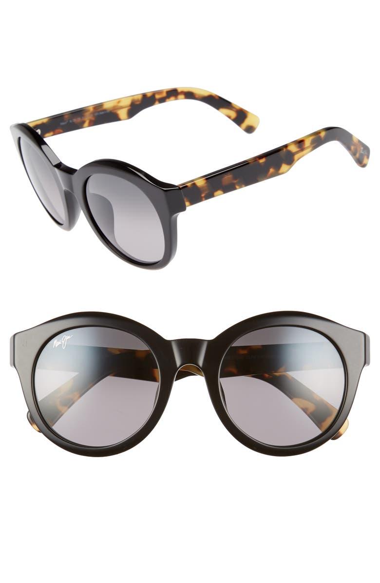 MAUI JIM Jasmine 51mm PolarizedPlus2<sup>®</sup> Round Sunglasses, Main, color, 001
