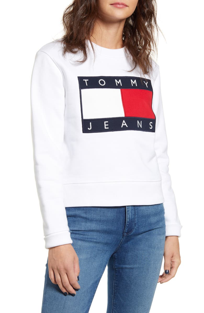 TOMMY JEANS Flag Sweatshirt, Main, color, BRIGHT WHITE