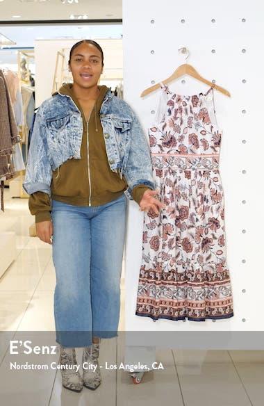 Floral Print Halter Cotton Midi Dress, sales video thumbnail