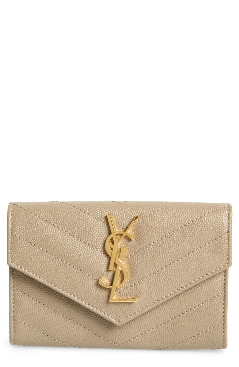 SAINT LAURENT 'Monogram' Quilted Leather French Wallet, Main, color, DUSTY GREY