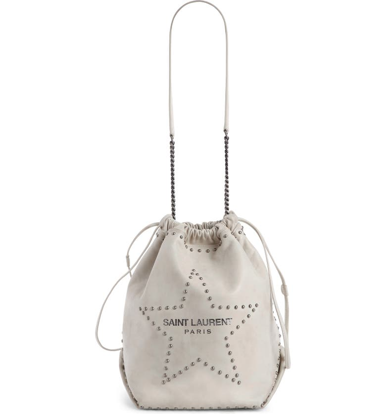 SAINT LAURENT Teddy Star Studded Leather Bucket Bag, Main, color, CREMA SOFT