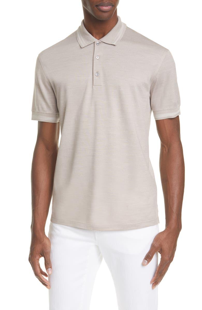ERMENEGILDO ZEGNA Cotton & Silk Polo Shirt, Main, color, BEIGE