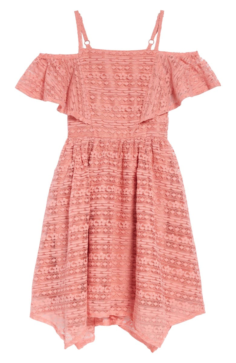 BCBG GIRLS Lace Handkerchief Hem Dress, Main, color, CORAL