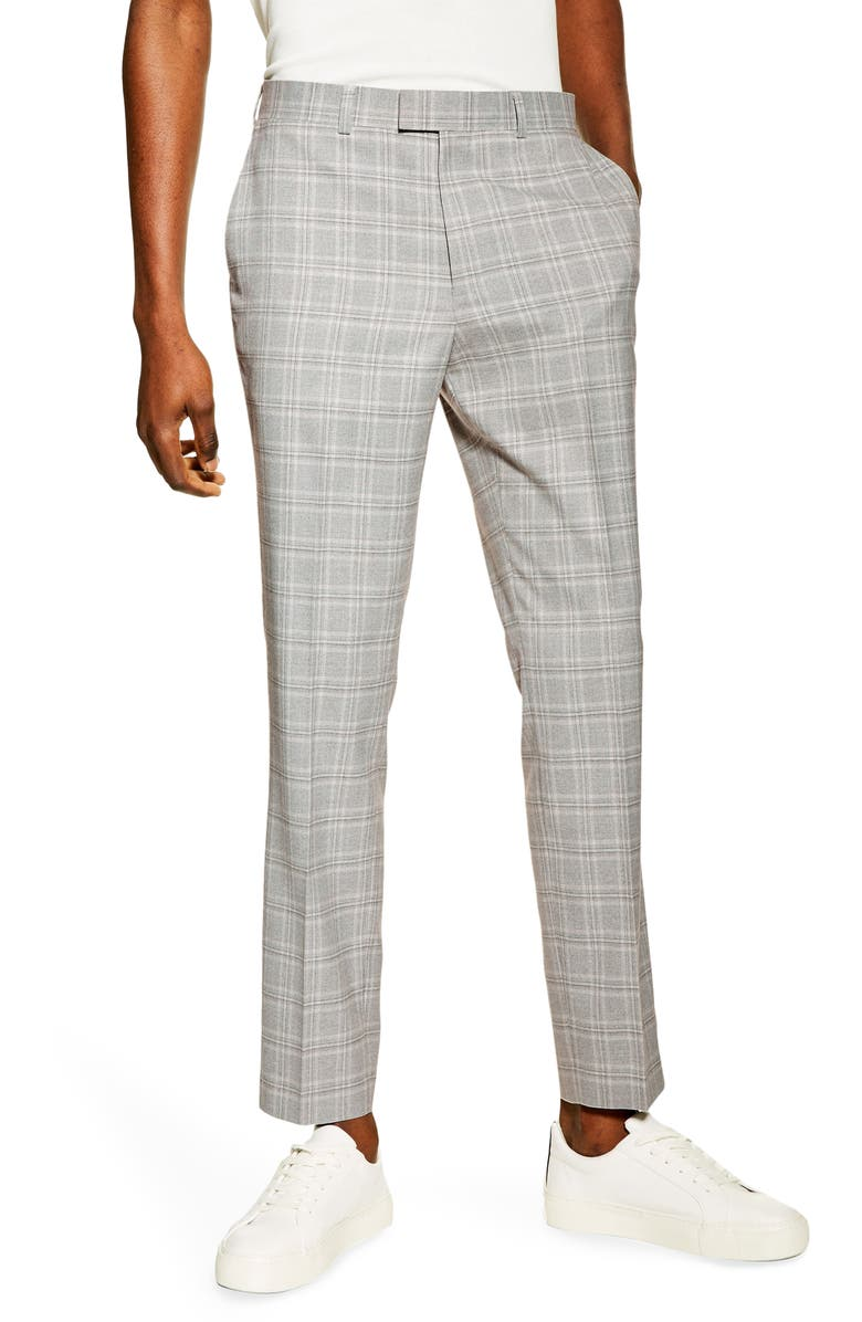 TOPMAN Slim Tailored Check Suit Dress Pants, Main, color, GREY