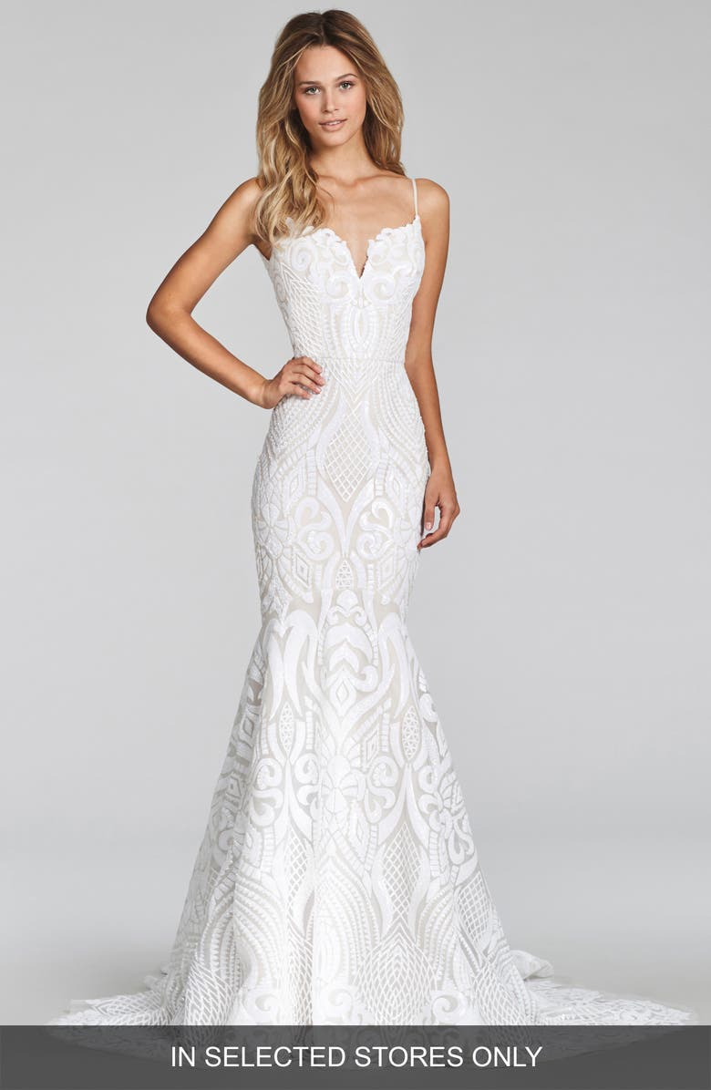 BLUSH BY HAYLEY PAIGE West Embellished Trumpet Gown, Main, color, IVORY