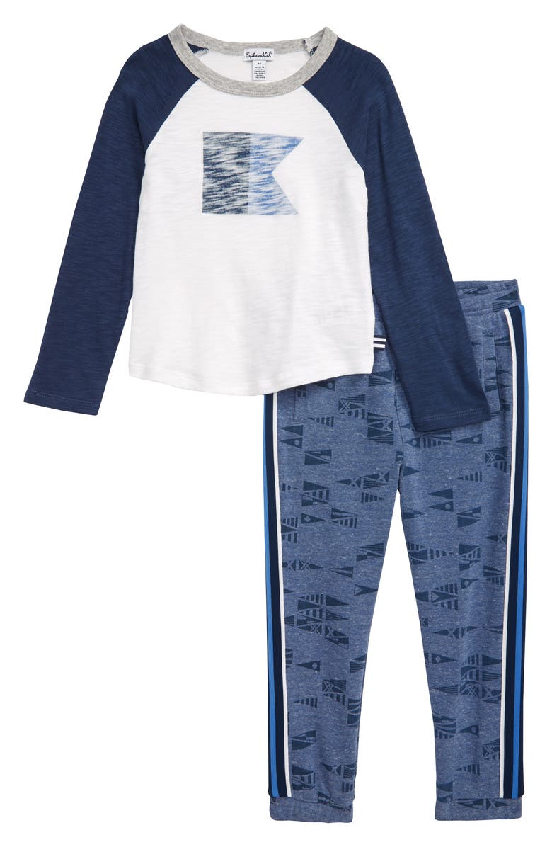 SPLENDID Nautical Flag Shirt & Pants Set, Main, color, DARK BLUE HEATHER