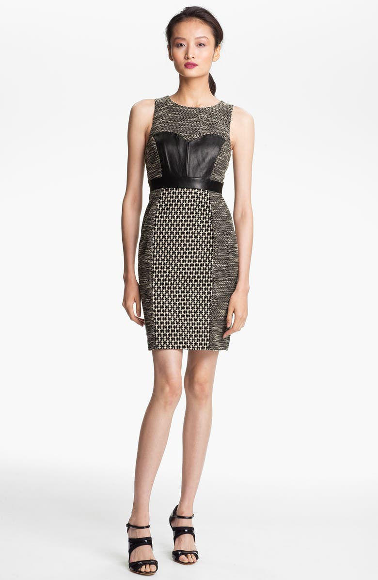 TRACY REESE Leather & Tweed Sheath Dress, Main, color, 011
