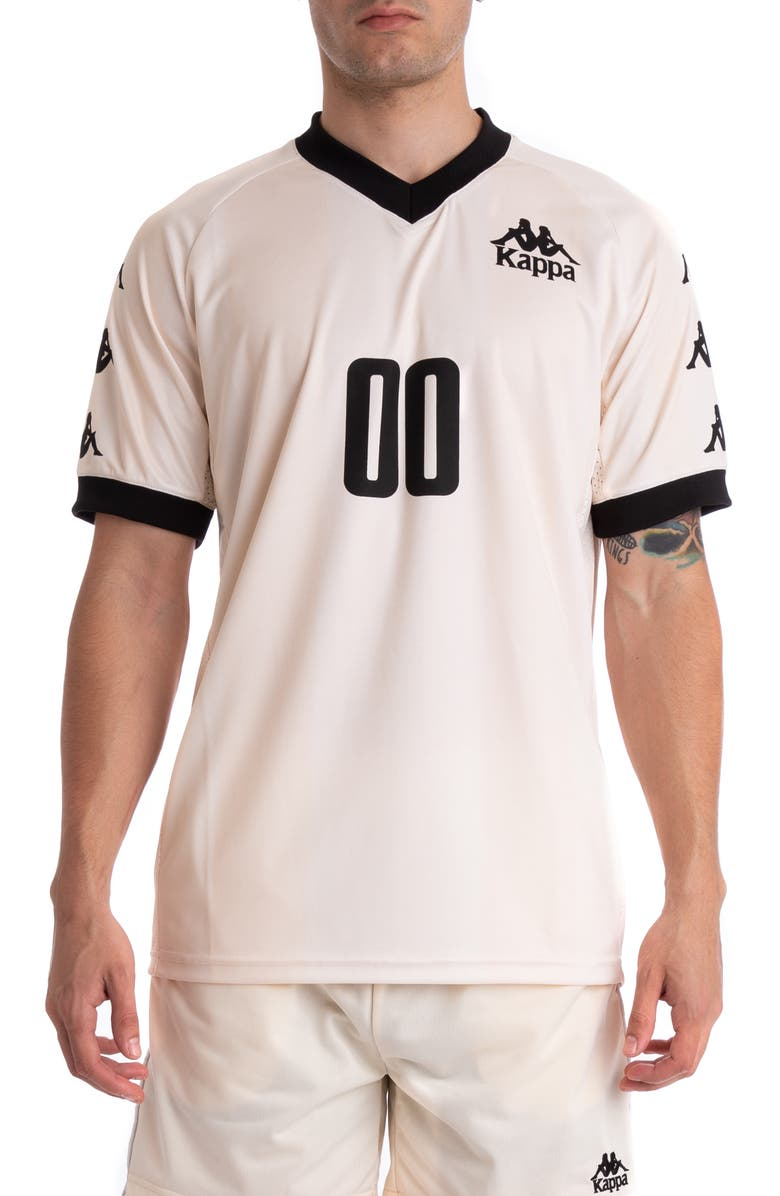 KAPPA Authentic Tabe V-Neck Jersey, Main, color, BEIGE/ BLACK