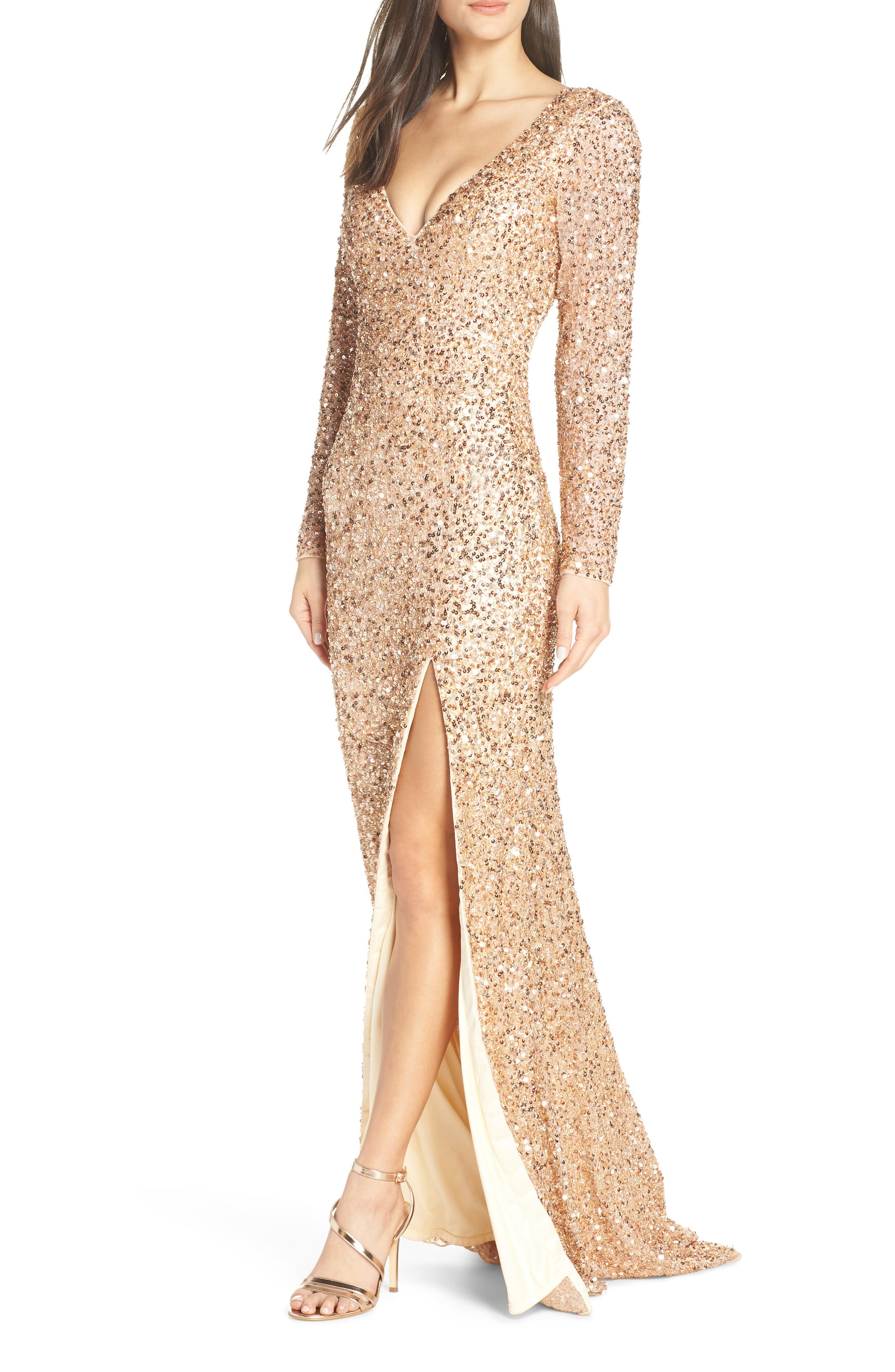 Image of Mac Duggal Sequin Long Sleeve Slit Column Gown