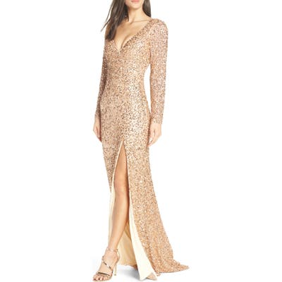 MAC Duggal Sequin Slit Dress, Pink