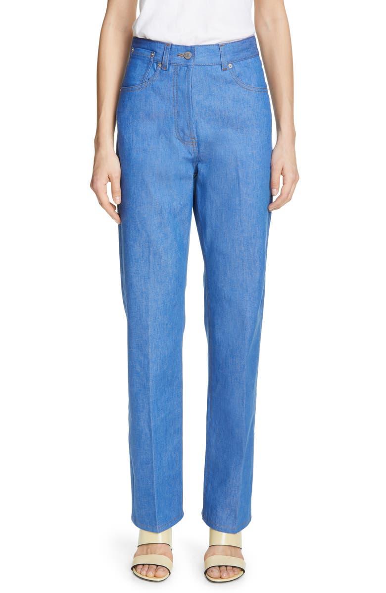 DRIES VAN NOTEN Piscos High Waist Straight Leg Jeans, Main, color, 400