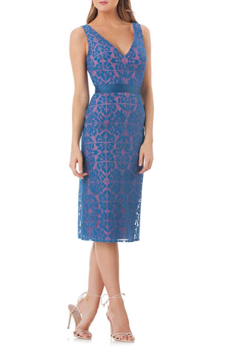 KAY UNGER Lace Sheath Dress, Main, color, CARIBBEAN BLUE