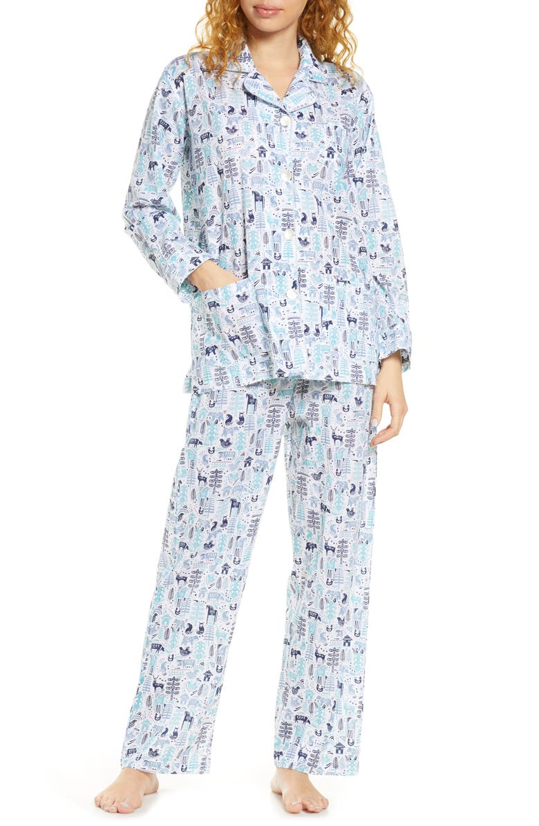 ROLLER RABBIT Nordic Folk Print Pajamas, Main, color, 400