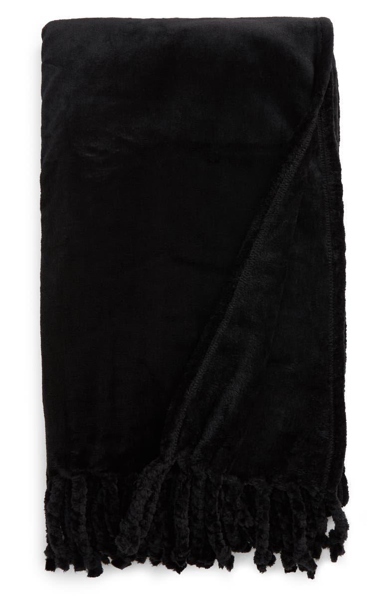 NORDSTROM Bliss Plush Throw, Main, color, BLACK