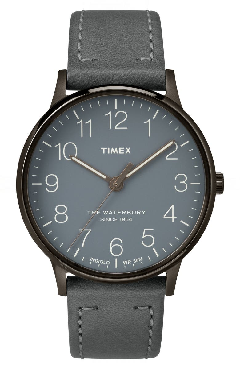 TIMEX<SUP>®</SUP> Waterbury Classic Leather Strap Watch, 40mm, Main, color, 020