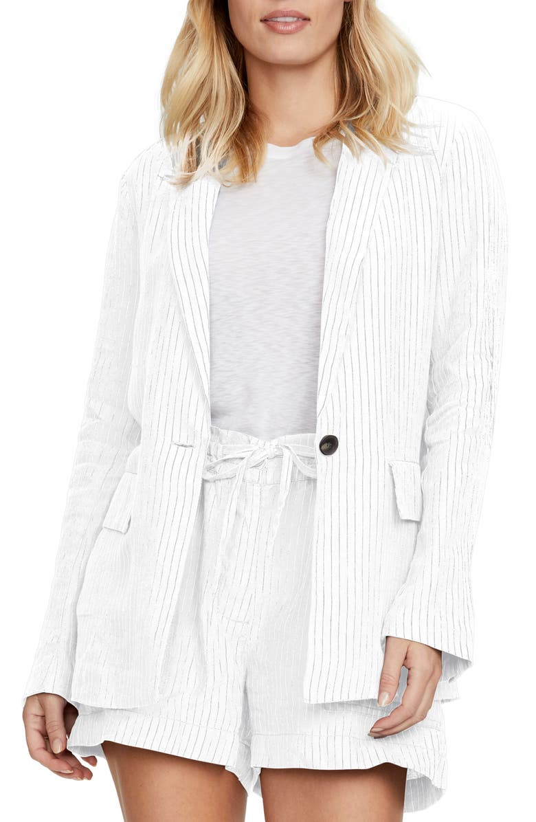 MICHAEL STARS Lottie Pinstripe Linen Blazer, Main, color, WHITE W/ BLACK S