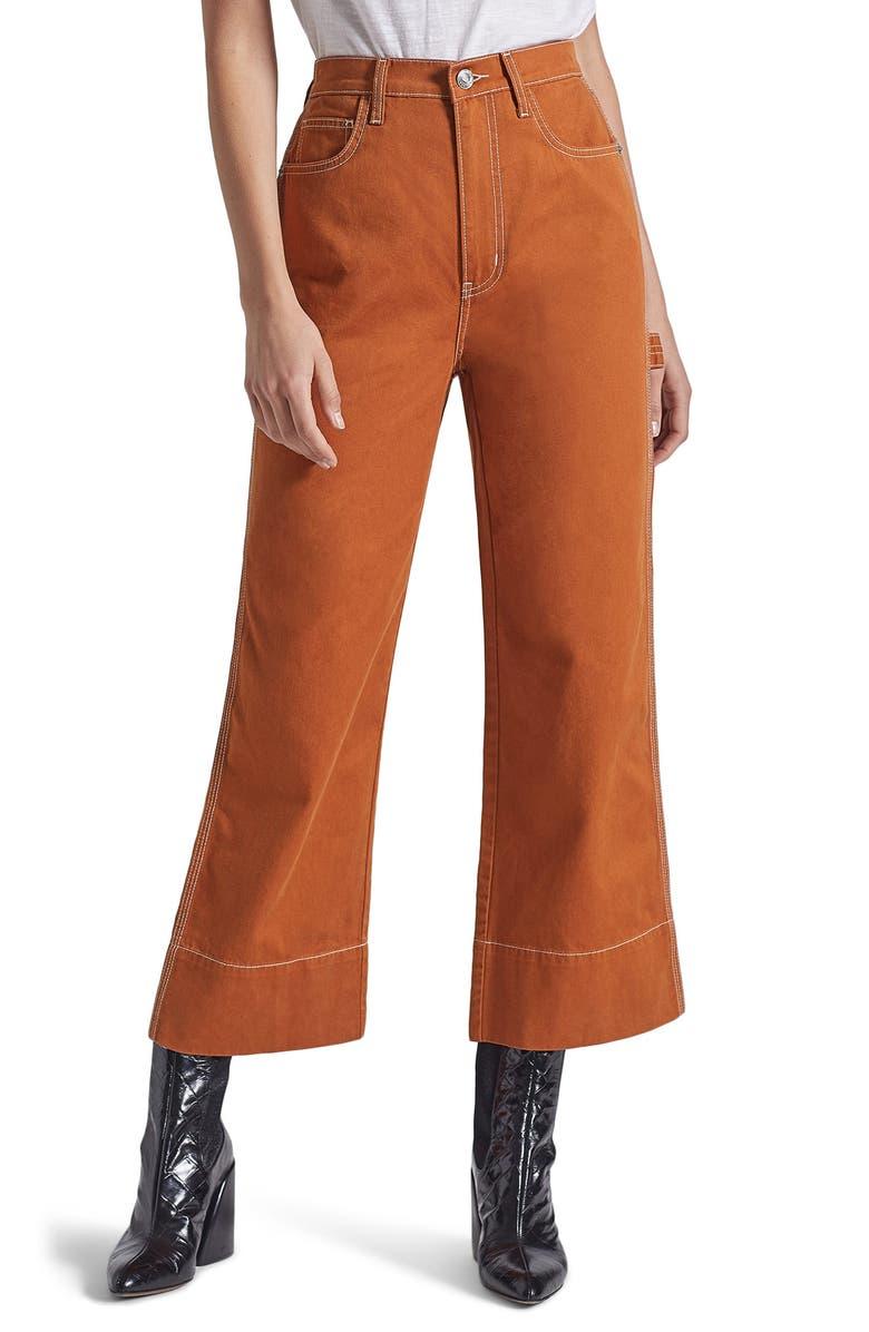CURRENT/ELLIOTT The Carpenter High Waist Crop Pants, Main, color, CARAMEL CAFE