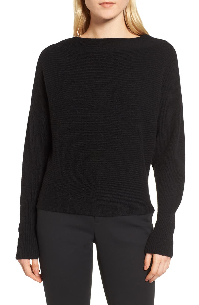LEWIT Dolman Sleeve Cashmere Sweater, Main, color, 001
