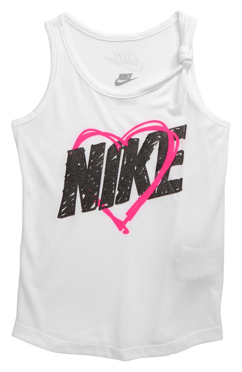 NIKE Knot Heart Graphic Tank, Main, color, WHITE