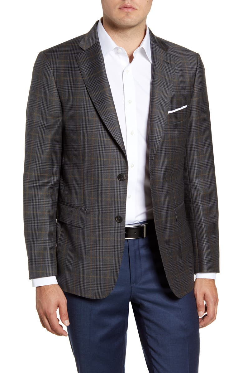 JOHN W. NORDSTROM<SUP>®</SUP> Regular Fit Plaid Wool Sport Coat, Main, color, GREY SHADE TAN PLAID