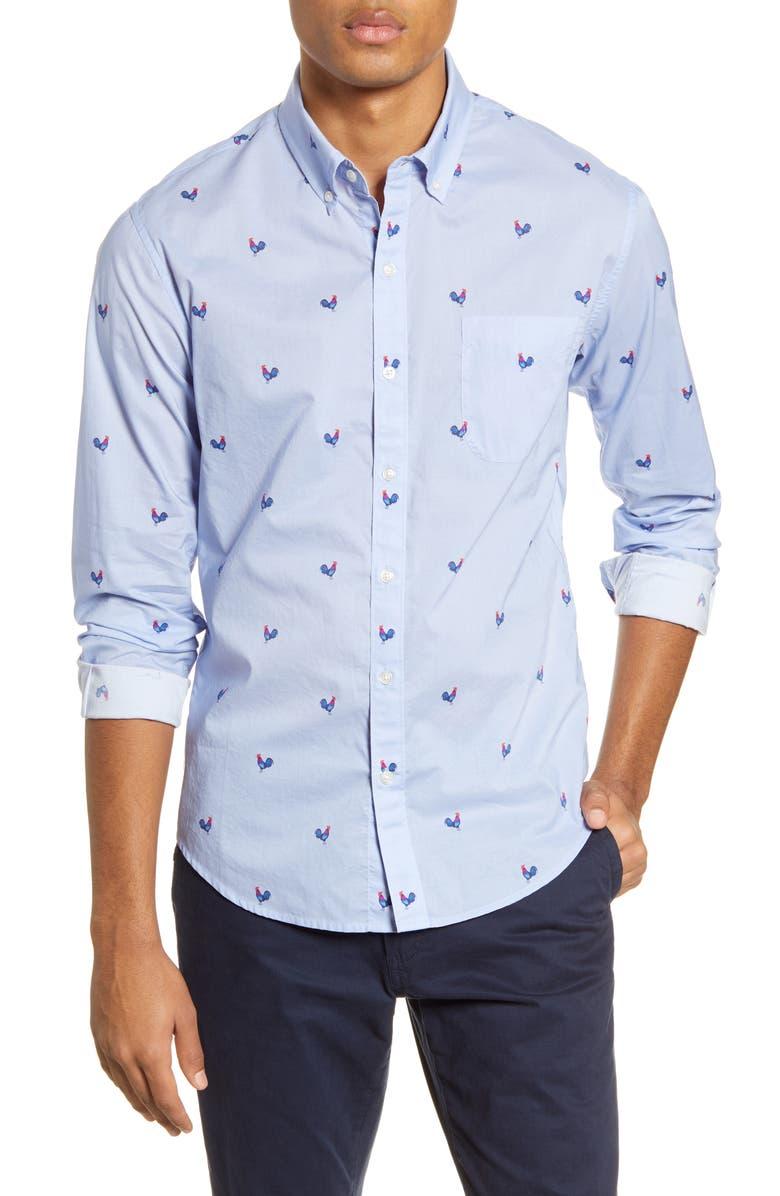 BONOBOS Slim Fit Print Button-Down Shirt, Main, color, ROOSTER LAVENDAR SKY