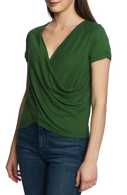 1.state Tops WRAP FRONT LINEN BLEND TOP