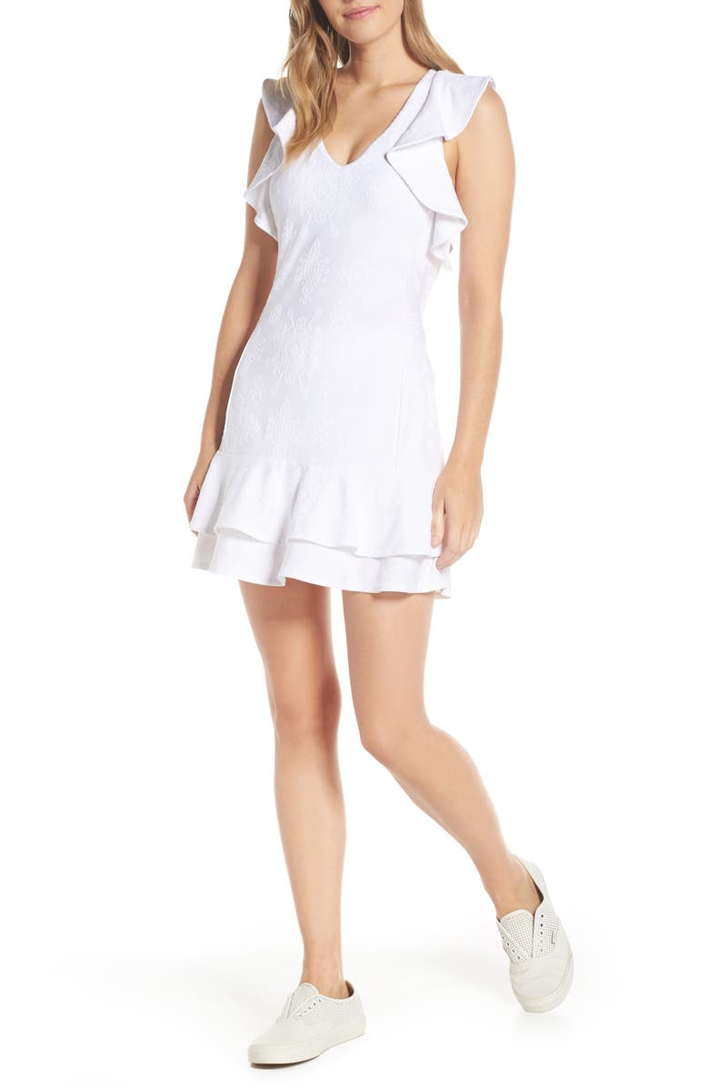 LILLY PULITZER<SUP>®</SUP> Luxletic - Rally UPF 50+ Ruffle Tennis Dress, Main, color, RESORT WHITE NYLON TEN
