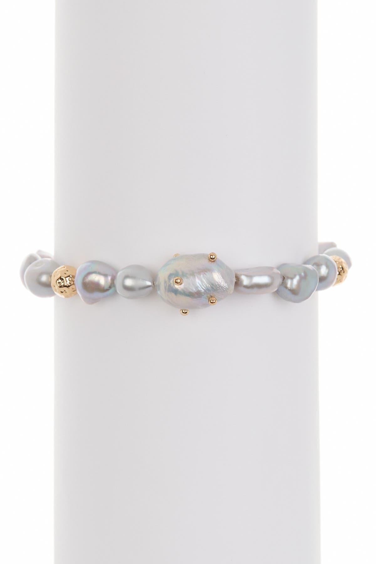 Image of Rebecca Minkoff Studded Baroque Pearl Bracelet