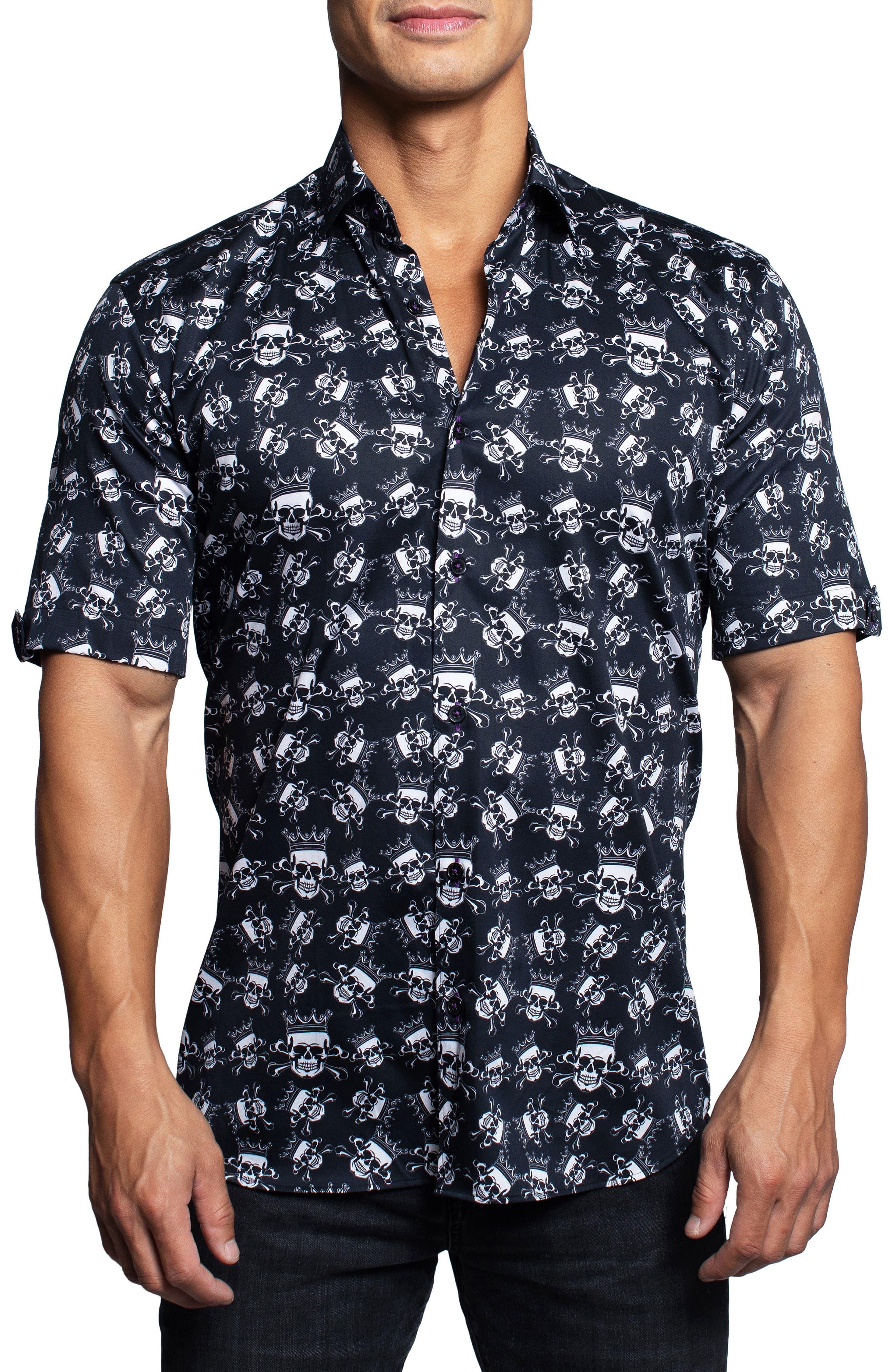Galileo Skullkiller Black Short Sleeve Button-Up Shirt