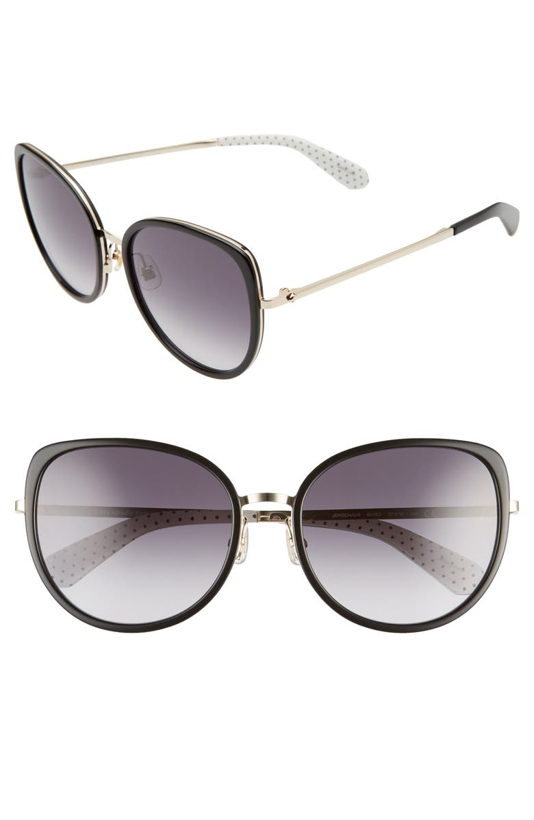 KATE SPADE NEW YORK jensen 57mm gradient sunglasses, Main, color, 001