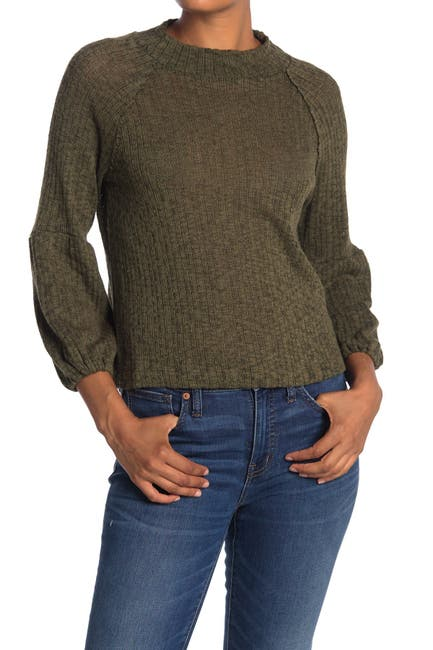 Image of WHITE WILLOW Mock Neck Textured Sweater