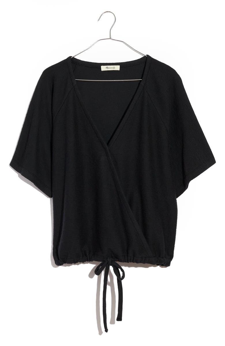 MADEWELL Drapey Ottoman Jacquard Faux Wrap Top, Main, color, TRUE BLACK