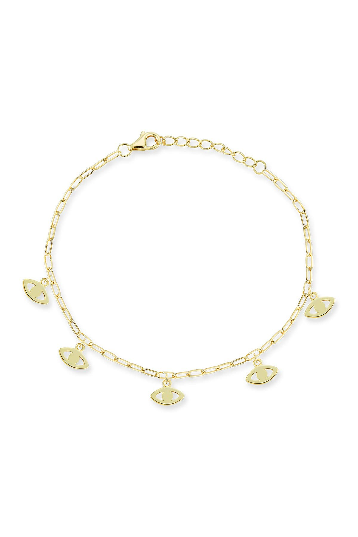 Image of Sphera Milano 14K Gold Plated Sterling Silver Evil Eye Charm Bracelet