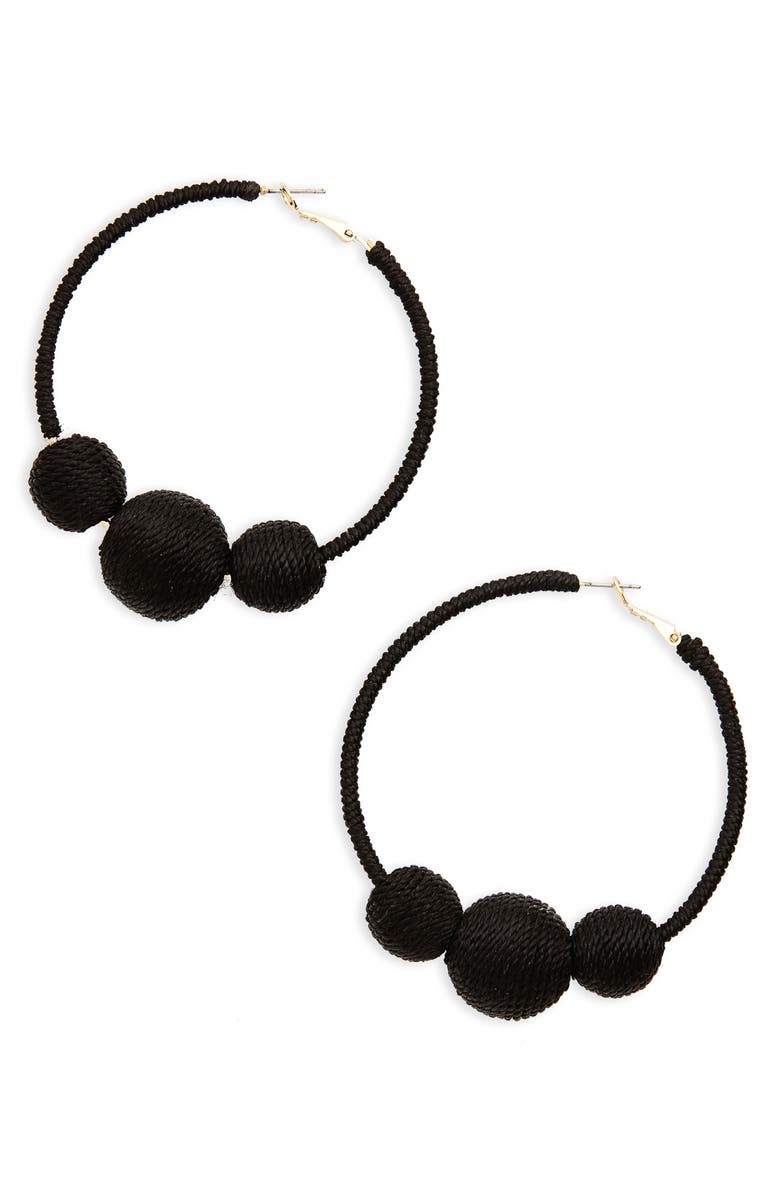 BP. Wrapped Ball Hoop Earrings, Main, color, 001