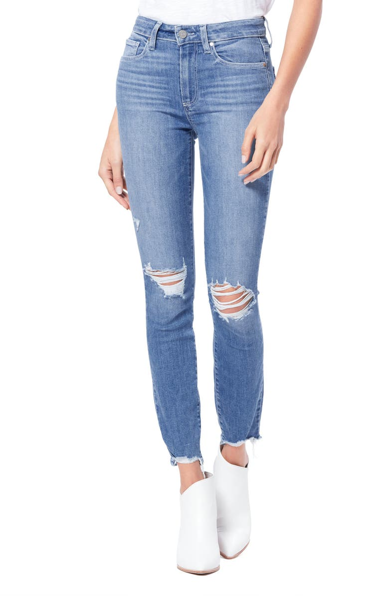 PAIGE Transcend Hoxton Ripped High Waist Ankle Skinny Jeans, Main, color, GLACIAL DESTRUCTED