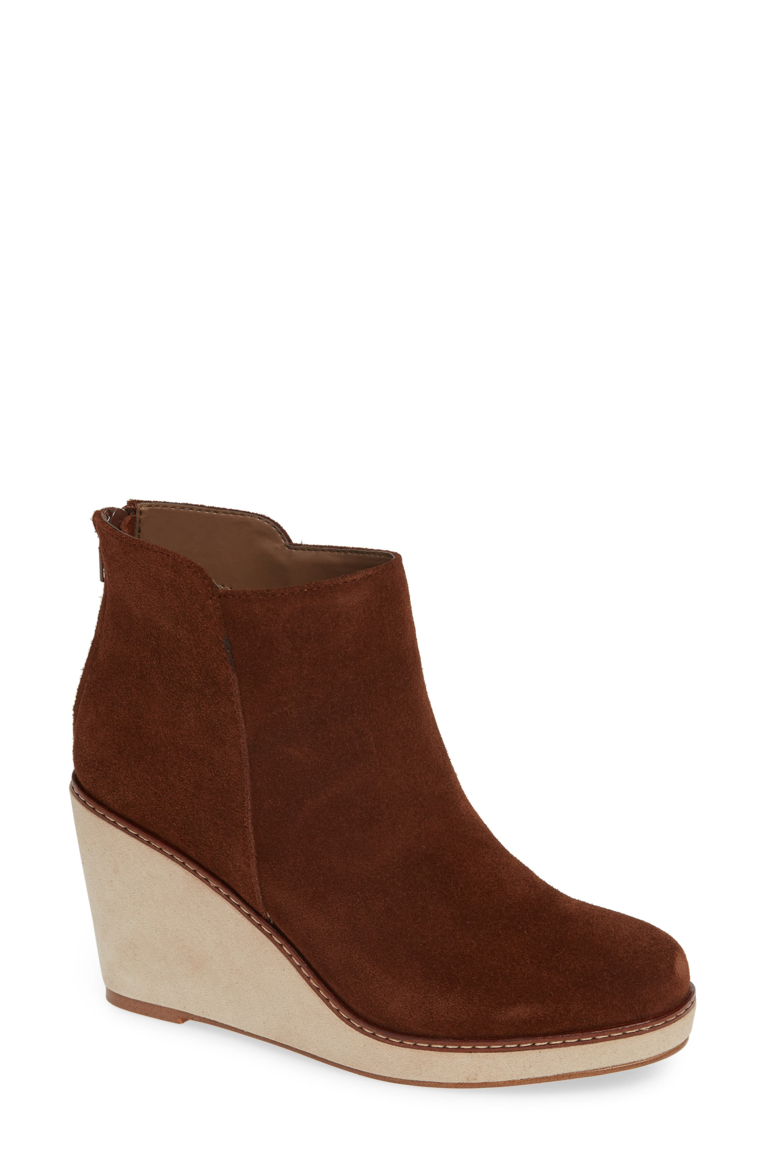 ,                             Higgins Wedge Bootie,                             Main thumbnail 1, color,                             WALNUT SUEDE