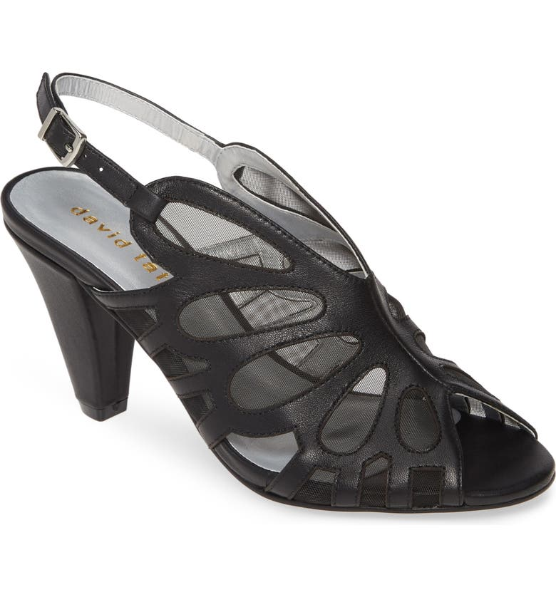 DAVID TATE Marlena Butterfly Mesh Pump, Main, color, BLACK LEATHER
