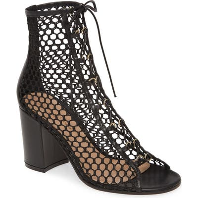 Gianvito Rossi Mesh Lace-Up Bootie, Black