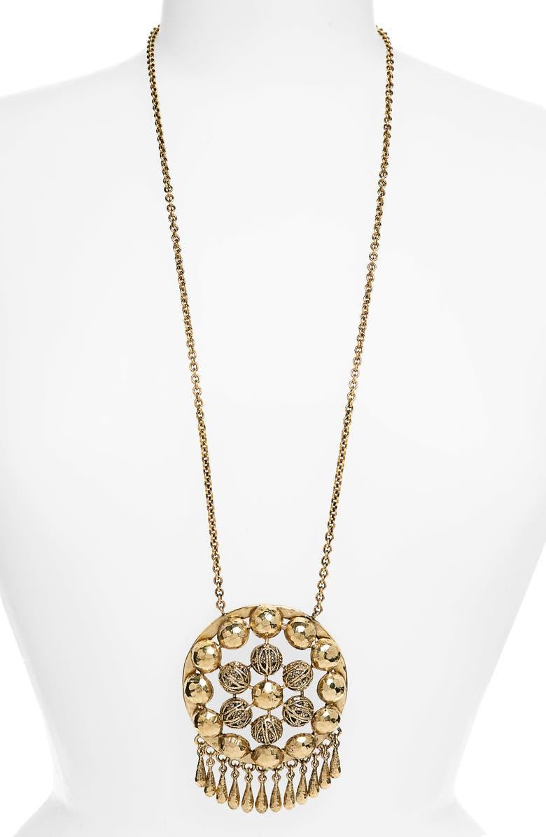 SAINT LAURENT Charmed Talisman Long Pendant Necklace, Main, color, BRASS