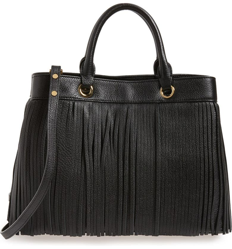 MILLY Fringed Leather Tote, Main, color, 001