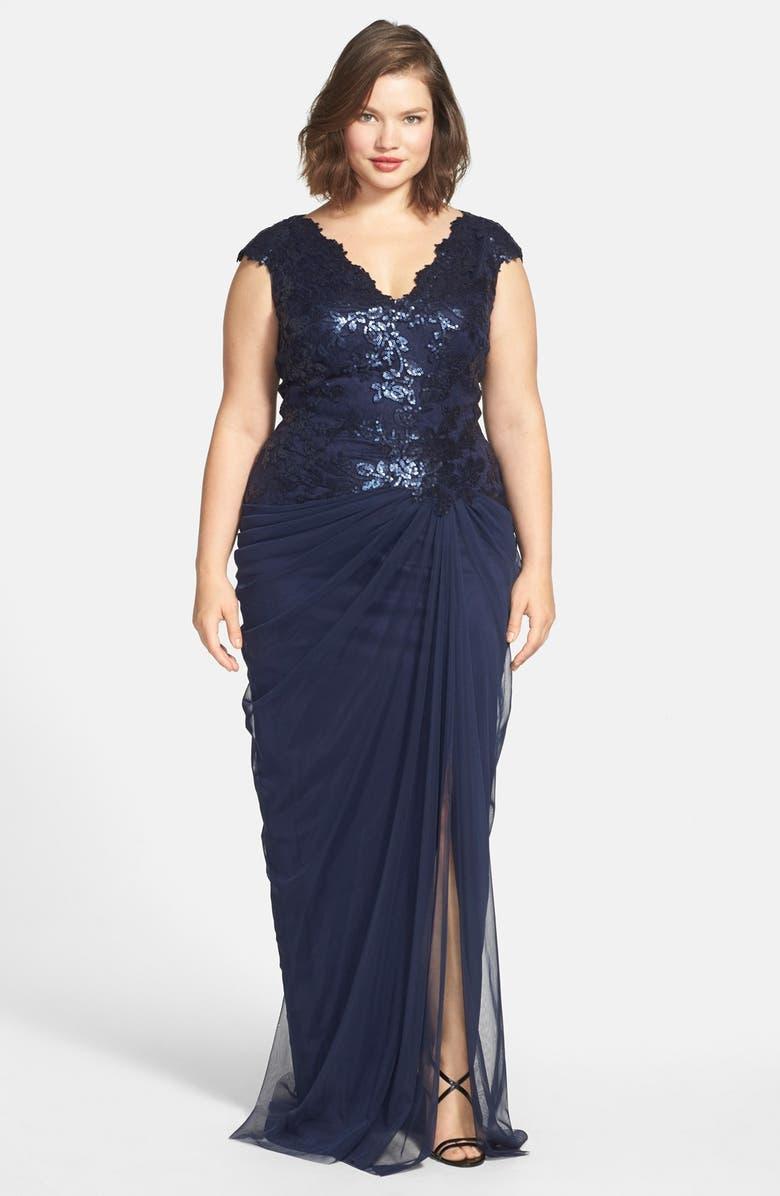 TADASHI SHOJI Sequin & Tulle V-Neck Gown, Main, color, 428